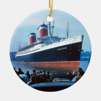 SS Estados Unidos Adorno Navideño Redondo De Cerámica