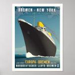 SS Europa Art Deco Travel Poster