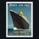 """SS Europa Art Deco Travel Poster<br><div class=""""desc"""">This piece pays tribute to the Art Deco style advertisements used by ocean lines during the period of around the 1930&#39;s. Featuring the Nord Lloyd liners Europa and Bremen, this piece honors two liners that shaped the history of not only maritime design, but also in the success of World War...</div>"""