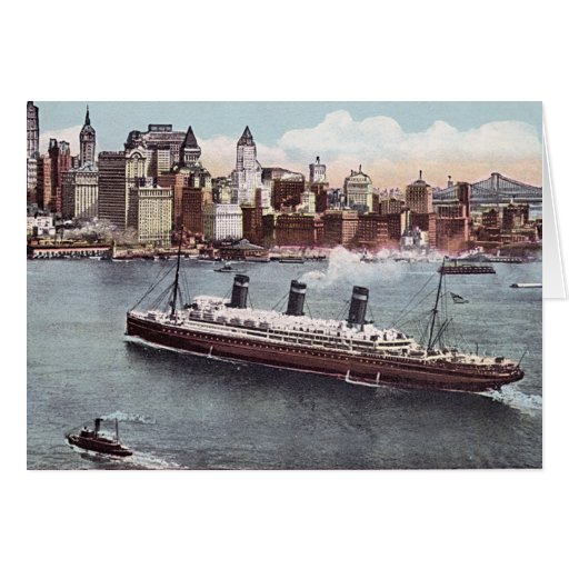 SS Leviathan and New York Skyline Card
