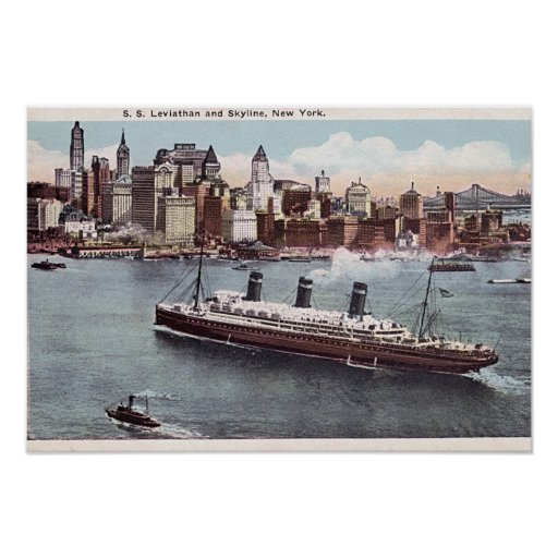 SS Leviathan and New York Skyline Poster
