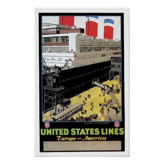 ss Leviathan at Dock - United States Lines Poster
