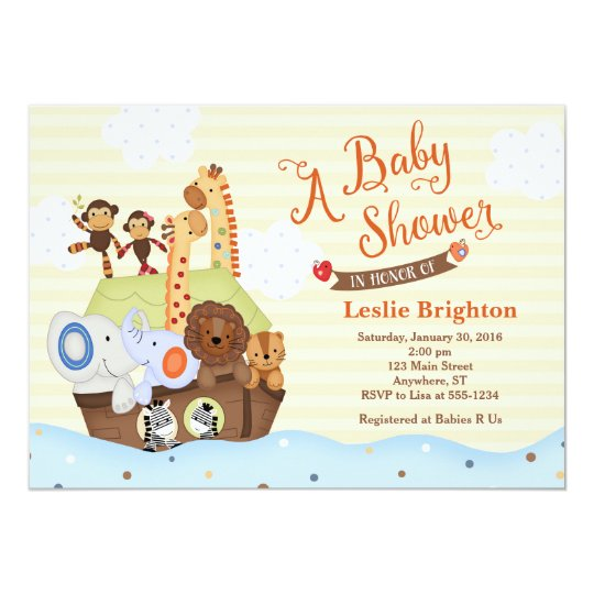 Ss Noah S Ark Baby Shower Invitation