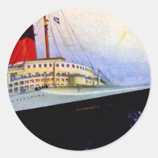 ss Normandie Round Stickers
