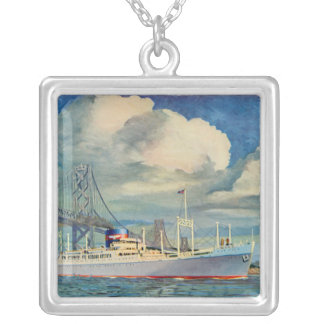 SS President Hoover Square Pendant Necklace