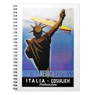 ss Rex passing Statue of Liberty Notebook