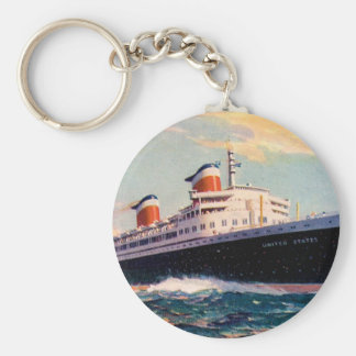 ss United States at Sea Keychain