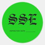 SSE, EXPIRATION DATE: ___________ ROUND STICKER