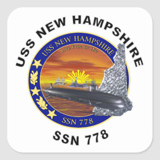 SSN 778 USS New Hampshire Square Sticker