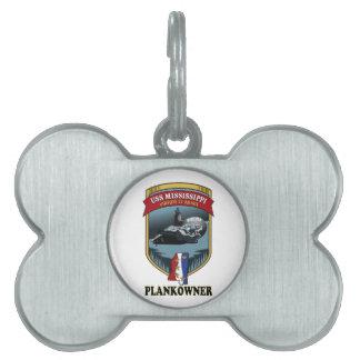 SSN 782 USS Mississippi Plankowner Placas De Nombre De Mascota