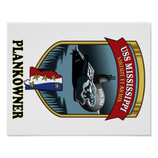 SSN 782 USS Mississippi Plankowner Poster