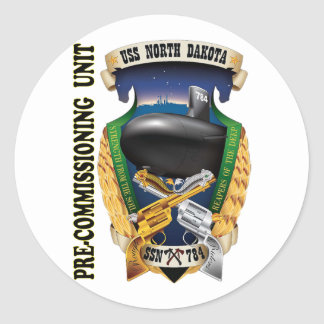 SSN-784 PCU North Dakota Pre-Commissioning Unit Classic Round Sticker