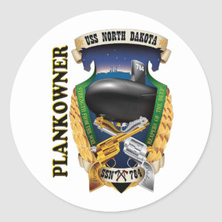 SSN-784 USS North Dakota Plankowner Classic Round Sticker