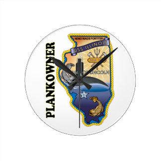 SSN 786 USS Illionois Plank Owner Round Clock