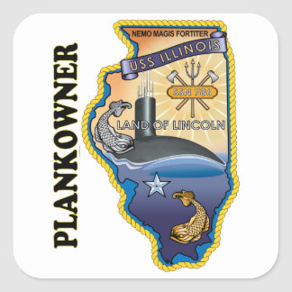SSN 786 USS Illionois Plank Owner Square Sticker
