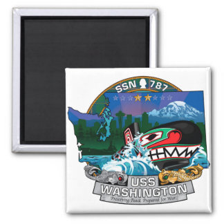 SSN 787 USS Washington 2 Inch Square Magnet