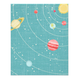 SSP CARTOON KIDS SOLAR SYSTEM PAPER PLANETS STARS PERSONALIZED FLYER