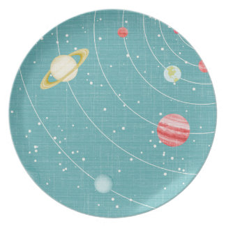 SSP CARTOON KIDS SOLAR SYSTEM PAPER PLANETS STARS PARTY PLATES