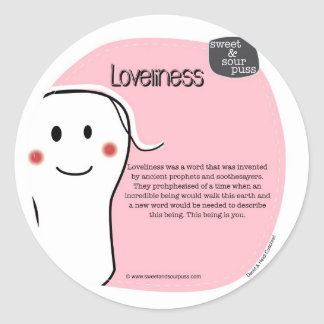 SSPG30-Loveliness Sweet and Sour Puss Classic Round Sticker