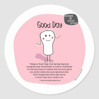 SSPG32-Good Day Sweet and Sour Puss Classic Round Sticker