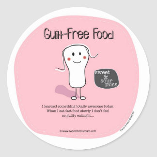 SSPG64-Guilt-Free Food Sweet and Sour Puss Round Stickers