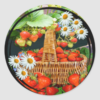 Sstrawberry Basket with Daisies  ~ Sticker
