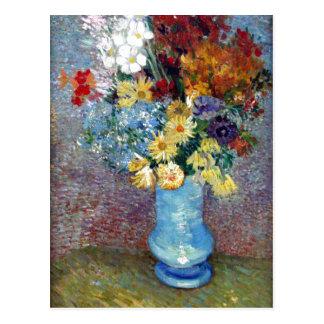 ?sszefoglal? Description Flowers in a blue vase ow Postcard