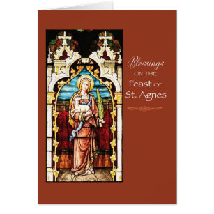 Feast day cards greeting photo cards zazzle st agnes feast day blessings card m4hsunfo Images