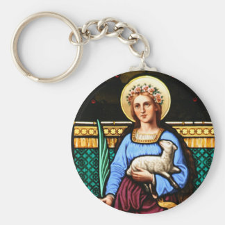 St Agnes of Rome, holding lamb and palm leaf Keychain