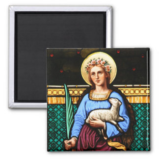 St Agnes of Rome, holding lamb and palm leaf Magnet