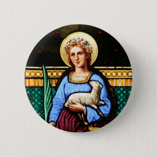 St Agnes of Rome, holding lamb and palm leaf Pinback Button