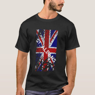 St Albans Vintage Peeling Paint Union Jack Flag T-Shirt