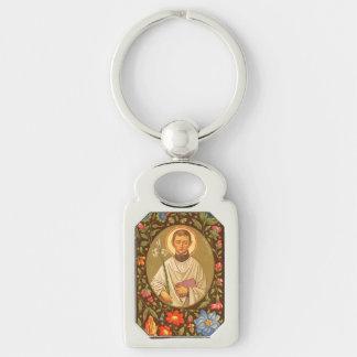 St. Aloysius Gonzaga (P.M. 01) Llavero Plateado Rectangular