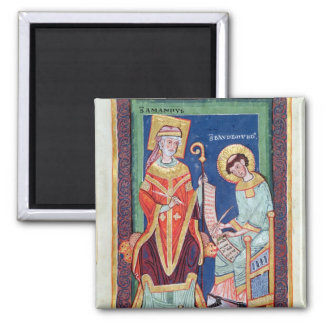 St. Amand returning a scroll to St. Baudemond 2 Inch Square Magnet