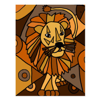 ST- Amazing Lion Abstract Art Design Postcard
