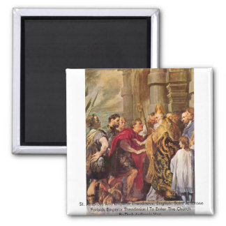St. Ambrose And Emperor Theodosius Fridge Magnet