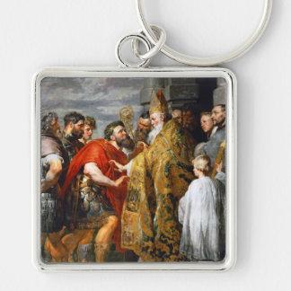 St. Ambrose and Emperor Theodosius  Paul Rubens Keychain