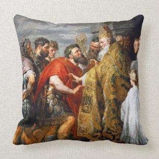 St. Ambrose and Emperor Theodosius Paul Rubens Throw Pillow