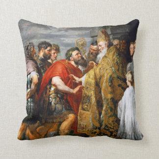 St. Ambrose and Emperor Theodosius  Paul Rubens Pillows