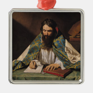 St. Ambrose , c.1633-39 Square Metal Christmas Ornament
