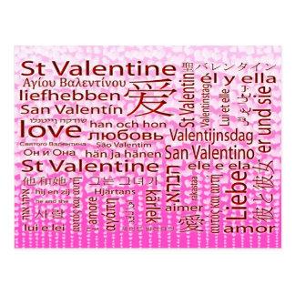 St. Amor multilingüe de la tarjeta del día de San  Postal