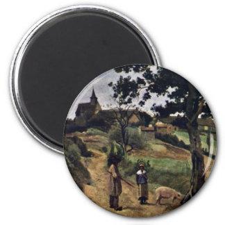 St-Andre-En-Morvan de Corot Jean-Baptiste-Camilo Imán Redondo 5 Cm