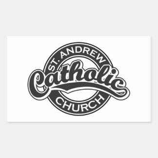 St. Andrew Catholic Church Black and White Rectangular Sticker