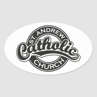 St. Andrew Catholic Church Black and White Oval Stickers