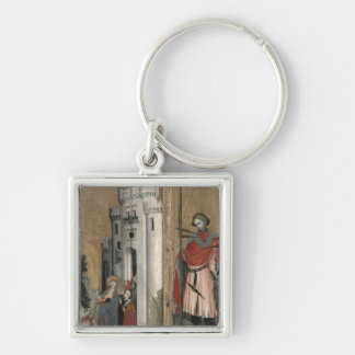 St. Andrew Chasing Demons from the Town Silver-Colored Square Keychain