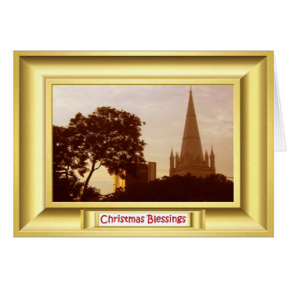 "St ANdrew""s cathedral Singapore at sunset Card"