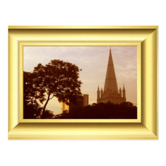 """St ANdrew""""s Cathedral Singapore at sunset Postcard"""