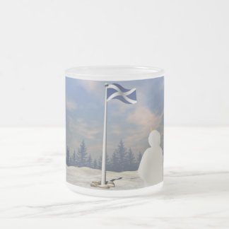 St. Andrew's Saltire 10 Oz Frosted Glass Coffee Mug
