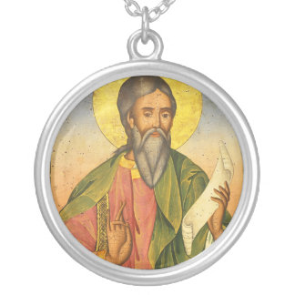 St. Andrew the Apostle by Yoan From Gabrovo Round Pendant Necklace