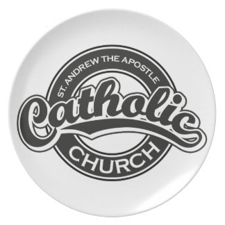 St. Andrew the Apostle Catholic Church Black Dinner Plate